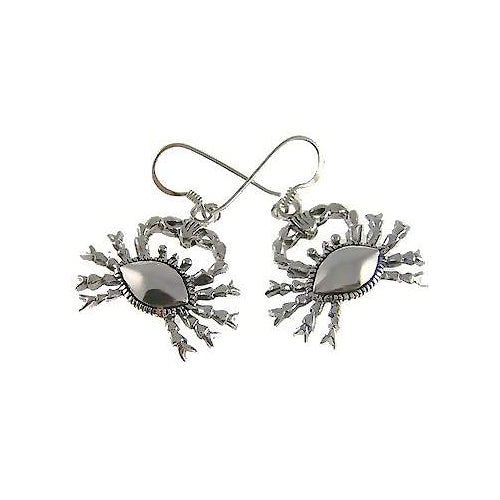 Cancer Zodiac Crab Sterling Silver Earrings | SilverAndGold