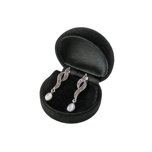 Marcasite & Mother of Pearl Twist Earrings | SilverAndGold