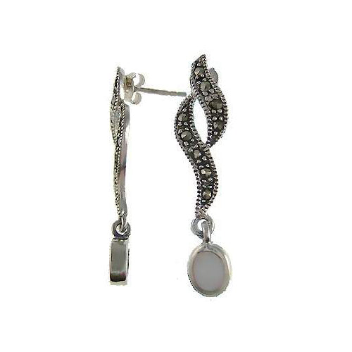 Marcasite Jewel Twists & Mother of Pearl Earrings in Sterling Silver - SilverAndGold.com Silver And Gold