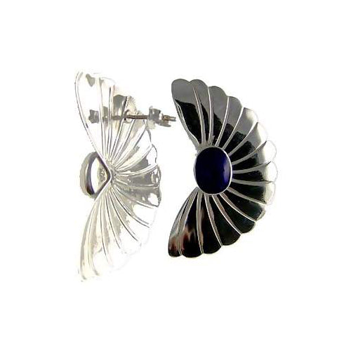Sterling Fan and Blue Lapis Gemstone Earrings - SilverAndGold.com Silver And Gold