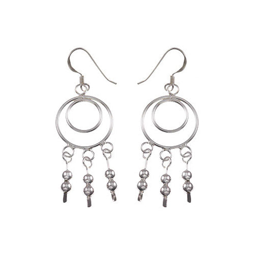 Silver Earrings: Hoops and Large Beads Chandelier - SilverAndGold.com Silver And Gold