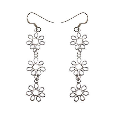 Sterling Silver Floral Rosettes Chandelier Earrings | SilverAndGold