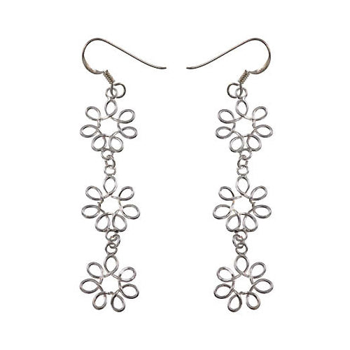 Silver Earrings: Floral Rosettes Chandelier - SilverAndGold.com Silver And Gold