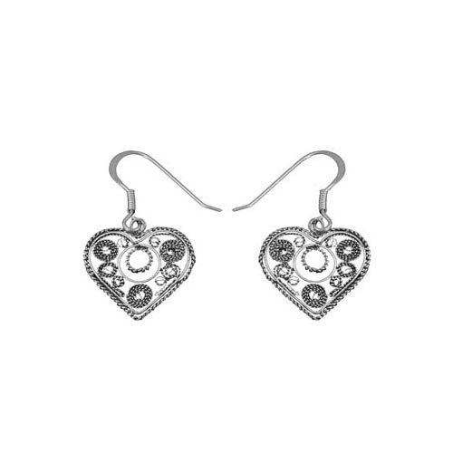 Sterling Silver Filigree Heart Earrings | SilverAndGold