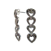 Silver Post Earrings: Four Marcasite Silver Hearts