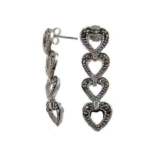 Stacked Heart Marcasite Sterling Silver Earrings | SilverAndGold
