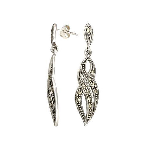 Victorian Style Sterling Silver & Marcasite Earrings | SilverAndGold