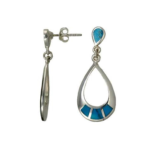 Sterling Silver & Turquoise Earrings: Hoops - SilverAndGold.com Silver And Gold