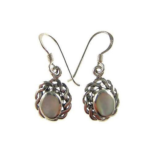 Mother of Pearl Victorian Filigree Silver Earrings | SilverAndGold