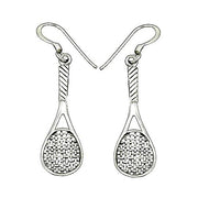 Sterling Silver Tennis Racquet Earrings | SilverAndGold