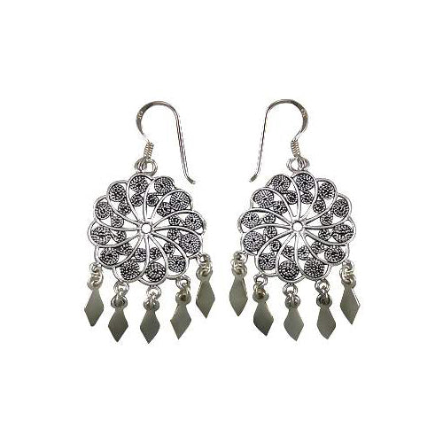 Sterling Earrings: Drop Earrings with Round Filigree Cut - SilverAndGold.com Silver And Gold