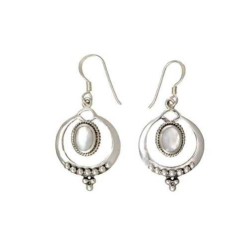 Sterling Silver & Mother of Pearl Beaded Earrings | SilverAndGold