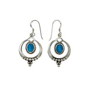 Sterling Silver & Turquoise Earrings: Beaded Hoops - SilverAndGold.com Silver And Gold