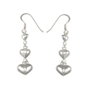 Sterling Silver Heart Dangle Earrings | SilverAndGold