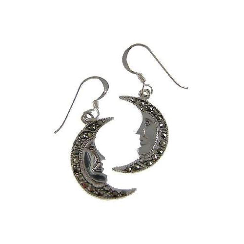 Silver Earrings: Sterling and Marcasite Moon Face