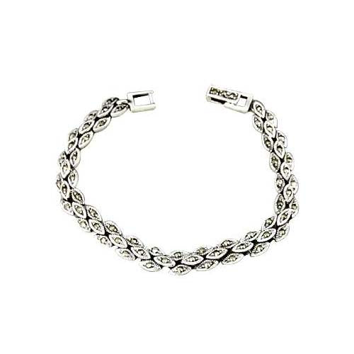 Marcasite Gemstone & Sterling Silver Bracelet - SilverAndGold.com Silver And Gold