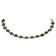 Sterling Silver Multi Gemstone And Marcasite Bracelet 7.5""