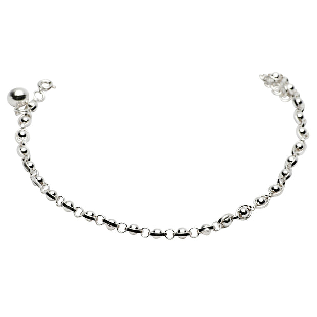 Polished Beaded Solid Sterling Silver Jingle Bracelet