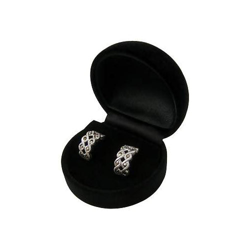 Marcasite Gemstones Post Earrings in Sterling Silver