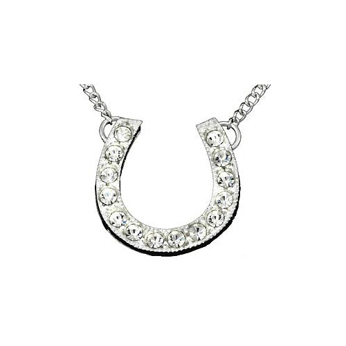 Horseshoe Created Diamond & Sterling Silver Necklace | SilverAndGold
