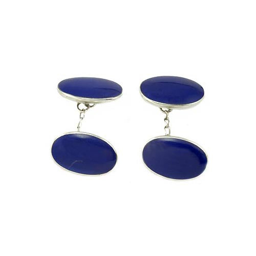 Sterling Cufflinks: Genuine Lapis Blue Oval - SilverAndGold.com Silver And Gold
