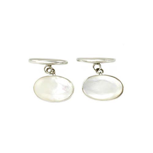 Sterling Cufflinks: Genuine Mother of Pearl White - SilverAndGold.com Silver And Gold