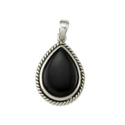 Sterling Silver and Black Onyx Teardrop Pendant - SilverAndGold.com Silver And Gold