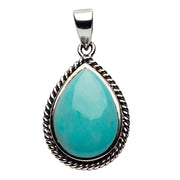 Turquoise and Sterling Silver Roped Teardrop Pendant