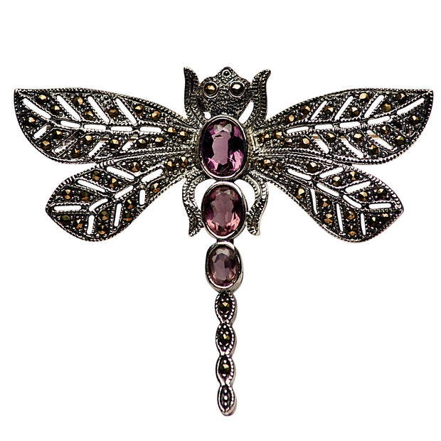Amethyst and Marcasite Dragonfly Sterling Silver Pin Brooch