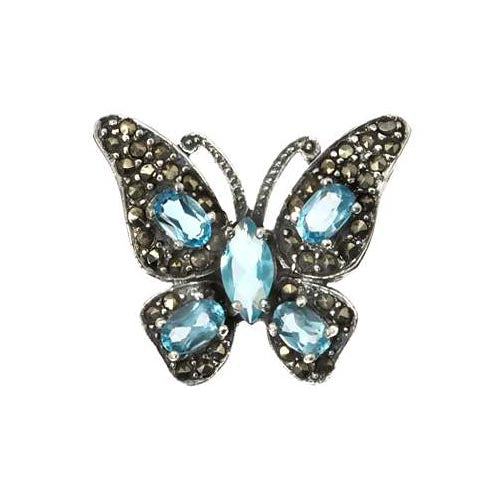 Sterling & Topaz Gemstone Butterfly Pendant - SilverAndGold.com Silver And Gold