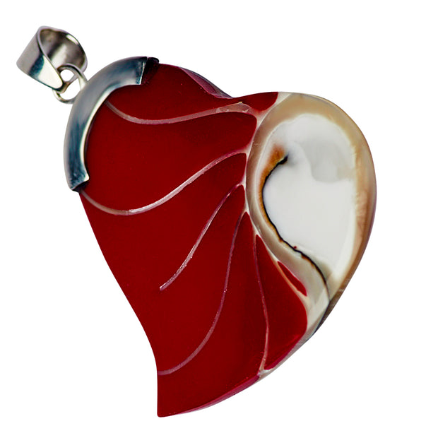 Sterling Silver, Mother of Pearl, & Red Coral Heart Pendant