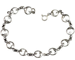 Full Moon and Star Bracelet - SilverAndGold.com Silver And Gold