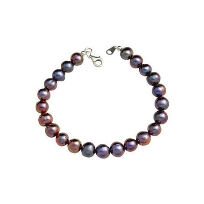 Large Sterling & Black Pearl Bracelet - SilverAndGold.com Silver And Gold