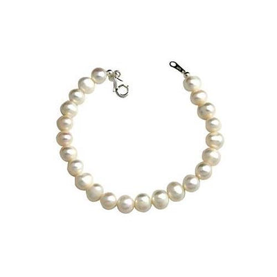 Large Sterling & White Pearl Bracelet - SilverAndGold.com Silver And Gold