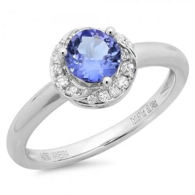 Tanzanite & Diamond Halo Ring in 14K White Gold | SilverAndGold