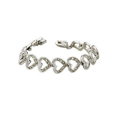Marcasite Jewel Heart Bracelet - SilverAndGold.com Silver And Gold