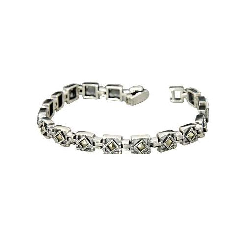 Marcasite Jewel Square Link Bracelet - SilverAndGold.com Silver And Gold