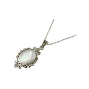 Marcasite Jewels and Mother of Pearl Necklace - SilverAndGold.com Silver And Gold