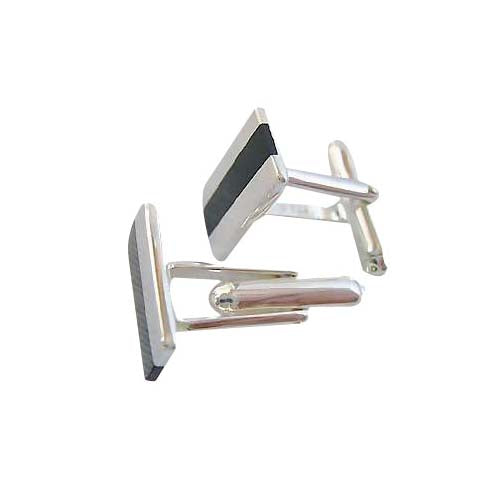 Sterling Silver Cuff Links - Stripes Sterling and Black Onyx - SilverAndGold.com Silver And Gold