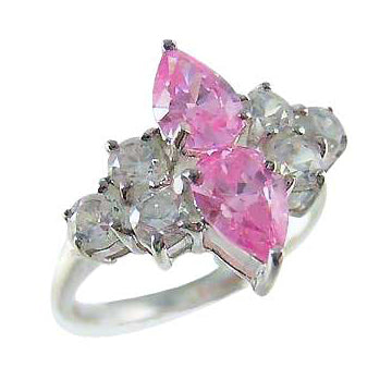 Sterling SIlver & Pink Gemstone Ring