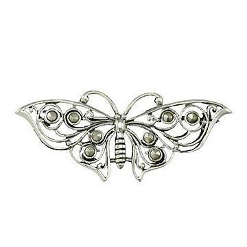 Sterling Silver Marcasite Butterfly Brooch Pin