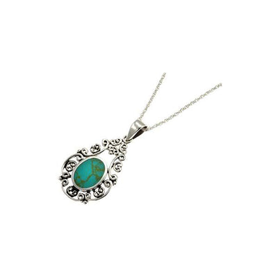 Turquoise and Sterling Silver Filigree Necklace