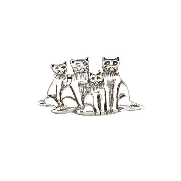 Sterling Silver Brooch Pin Family Of Cats