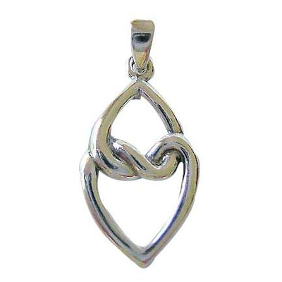 Sterling Silver Intertwined Two Heart Pendant