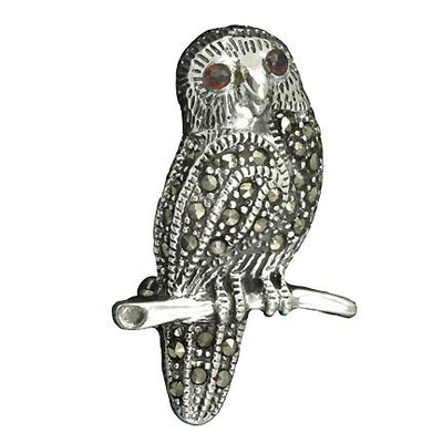 Sterling Silver Owl Brooch Pin