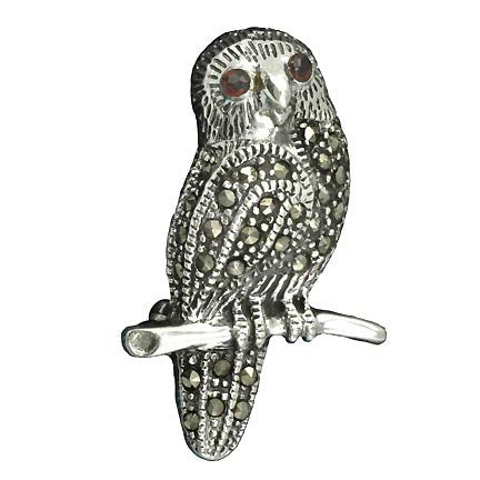 Marcasite and Sterling Silver Owl Brooch Pin