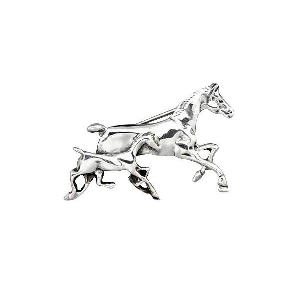 Sterling Silver Mother and Foal Horse Brooch Pin