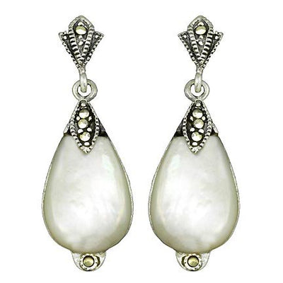 Sterling Silver Marcasite & Mother Of Pearl Teardrop Earrings