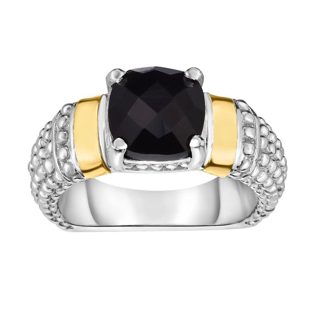 Black Onyx Ring Set in 18K Gold & Sterling Silver | SilverAndGold