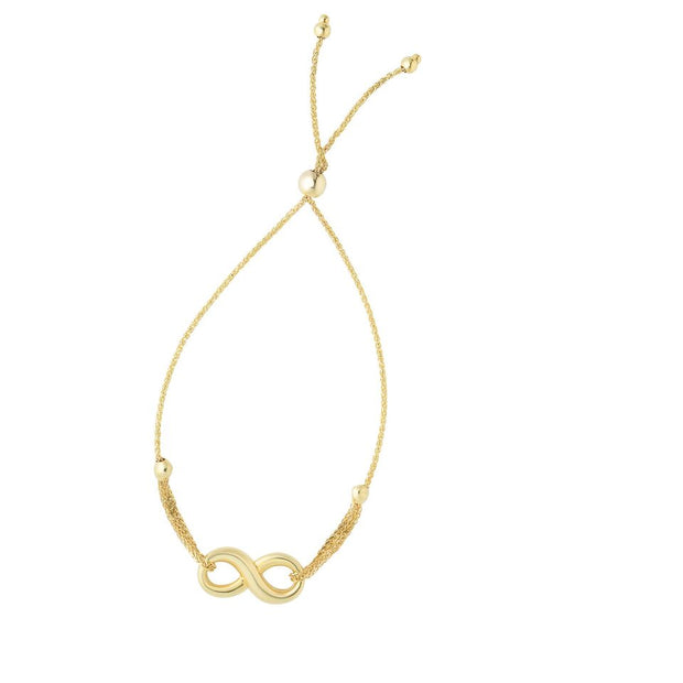 14K Yellow Gold Infinity Adjustable Bracelet 9 1/4''